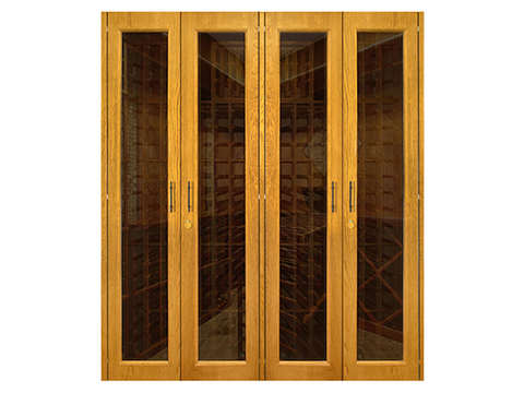 1400-Model White Oak Wine Cabinet with 4 Glass Doors - Kegerator Craft