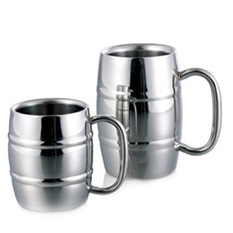 Beer Mugs Barrel Shape Double Wall Stainless 350/550ml - Kegerator Craft