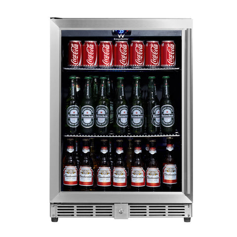 KingsBottle Beverage Cooler Glass Door KBU-50B-SS LHH - Kegerator Craft