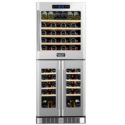 KUCHT 121-Bottle Triple Zone Wine Cooler Built-in with Compressor - Kegerator Craft