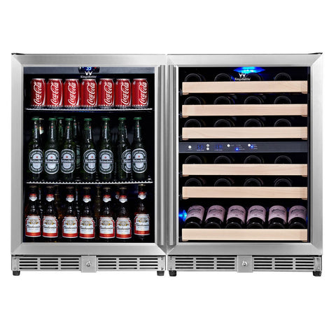 KingsBottle 3 Zone Beer & Wine Combo Fridges KBU-50Combo-BW3 - Kegerator Craft