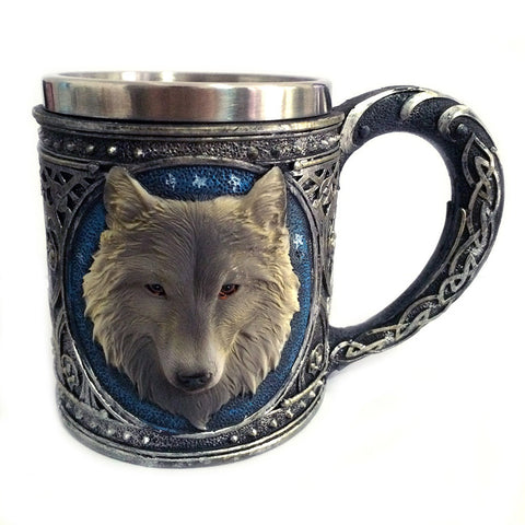 Double Wall Stainless Steel 3D Wolf Mug - Kegerator Craft