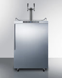 Summit Dual Tap Outdoor Kegerator Stainless with Vertical Handle SBC635MOSHVTWIN - Kegerator Craft