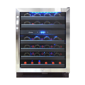 Dual-Zone Wine Cooler Black and Stainless 46 Bottle - Kegerator Craft