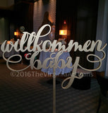 Willkommen Baby.  Table Sign. Baby Shower Decor in German