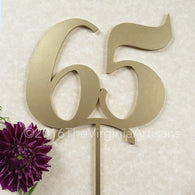 65 Cake Topper - Gold - Silver -DIY - 65th Birthday Cake Topper