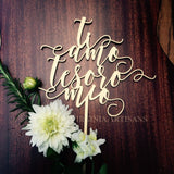 Ti amo tesoro mio.  Cake Topper in Italian. Gold or Silver. Cute Wedding Cake Topper.