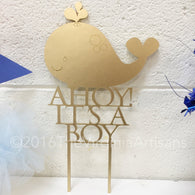 Ahoy it's a Boy Cake Topper - Baby Shower Whale Cake Topper - Baby Boy Shower Whale- Whale Cake Topper