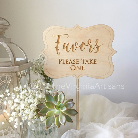 Favors Sign - Wooden Rustic Favors Sign - Favors Table Decor