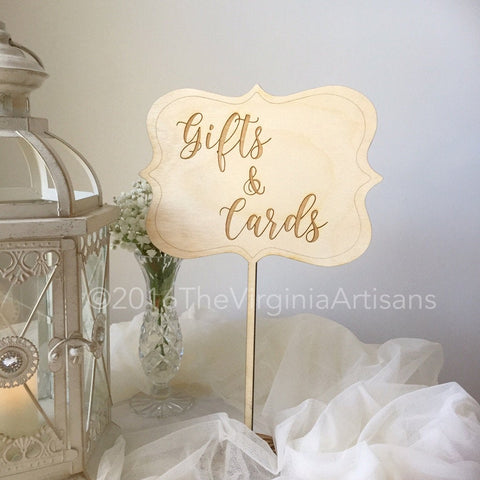Gifts and Cards Sign. Wood Table Sign. Rustic Gifts and Cards Sign