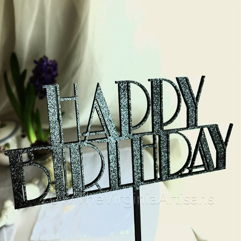 Happy Birthday Cake Topper - Art Deco Cake Topper - Great Gatsby -  Cake Topper