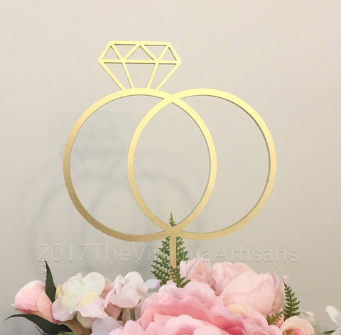 wedding Rings Cake Topper. DIY, Gold or Silver. Cute Wedding Cake Topper.