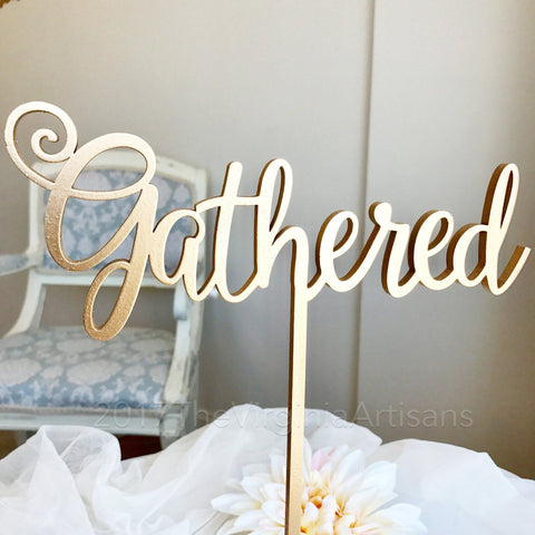 Gathered sign - self standing table sign