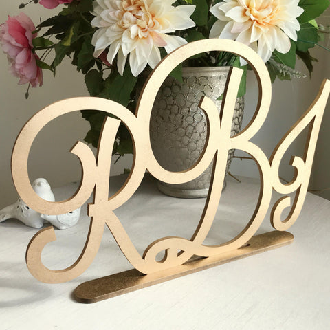 Monogram Sign - Laser Cut Self Standing Monogram Sign - Three Letters Monogram Sign