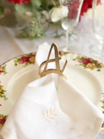 Set of 12 - Napkin Rings - Napkin Rings with Initials - Napkin Rings Initial - Monogram Napkin Rings - Napkin Rings Wedding - Elegant Napkin