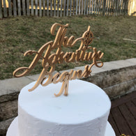 The Adventure Begins Wedding Cake Topper - Travel Theme Cake Topper - The Adventure Begins Cake Topper - Nautical Wedding Cake Topper