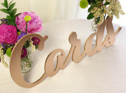 Laser Cut Cards Sign - Wedding Cards Table Sign - Gold Cards Sign