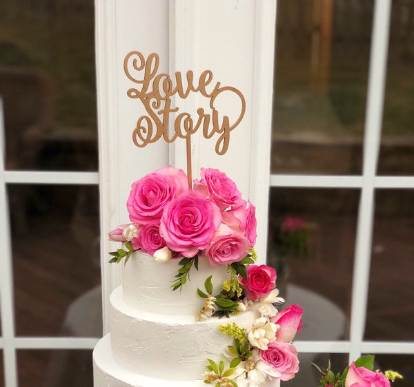 Love Story Cake Topper - Gold Love Cake Topper - Love Story Wedding Cake Topper- Love Wedding Cake Topper - Heirloom Cake Topper