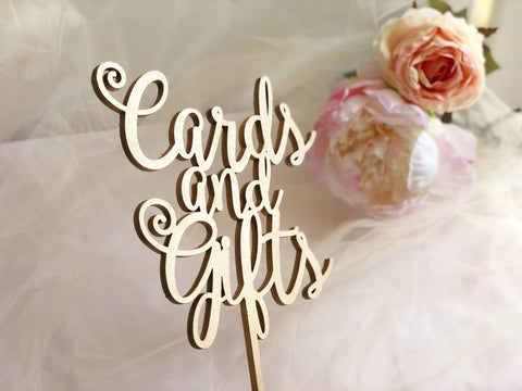 Cards and Gifts Sign, Cards and Gifts Party Signage, Gold Cards and Gifts Sign, Laser Cut Cards And Gifts Sign, Cards And Gifts Table Sign