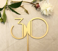 30 Year Old Birthday Cake Topper - Gatsby style - Gold - Silver -DIY - Art Deco Style Birthday Cake Topper