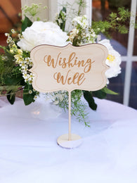 Wishing Well Table Sign - Wishing Well Sign - Wood Wishing Well Sign - Sign for wishing well