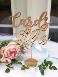 Gifts and Cards Sign - Party Signage - Gold, Silver or DIY - Laser Cut Gifts And Cards Sign -  Venice Line