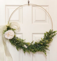 "19"" Large Modern Hoop Wreath - Large Hoop Wreath - Large Hoop Wreath, Faux Eucalyptus Wreath, Modern Style Wreath - Wedding Wreath"