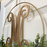 "Modern Hoop 12"" Wreath - Artificial Eucalyptus Wreath - Modern Wreath with Initial - Letter Monogram Sign for Door - Farmhouse Hoop Wreath"