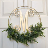 "Modern Hoop Wreath - Artificial Eucalyptus Wreath - Modern Wreath with Initial - One Letter Monogram Sign for Door - 12"" hoop Wreath"