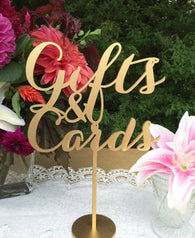 Gifts and Cards Sign - Party Signage - Gold, Silver or DIY - Laser Cut Gifts And Cards Sign -  Elegance Line.