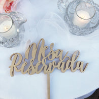 Mesa Reservada,  Rotulos para Bodas - Rotulo para Mesa Principal - Reserved Head Table Sign - Laser Cut Signs in Spanish - Spanish Line 1
