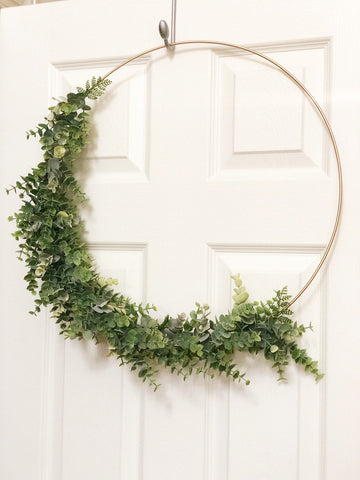 "19"" Modern Hoop Wreath With Greenery, Large Hoop Wreath, Wedding Hoop Wreath - Faux Eucalyptus Wreath, Modern Style Wreath, Farmhouse Wreath"