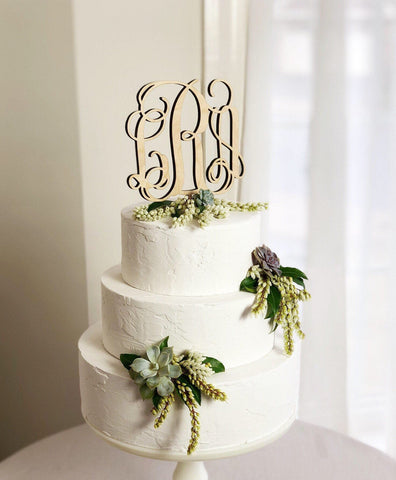 Wood Monogram Wedding Cake Topper, Monogram Cake Topper, Initials Wedding Cake Topper, Wooden Monogram Cake Topper - Heirloom Cake Topper
