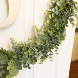 "19"" Hoop Wreath - Modern Hoop Wreath - Artificial Eucalyptus Wreath - Modern Wreath with Initial - One Letter Monogram Sign for Door"