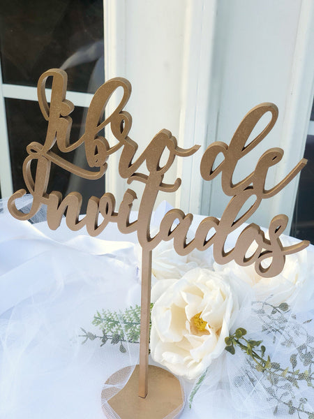 Libro de Invitados - Wedding Signs in Spanish - Rotulos de Boda en Español - Laser Cut Wedding Signs in Spanish - Guestbook - Spanish Line 1