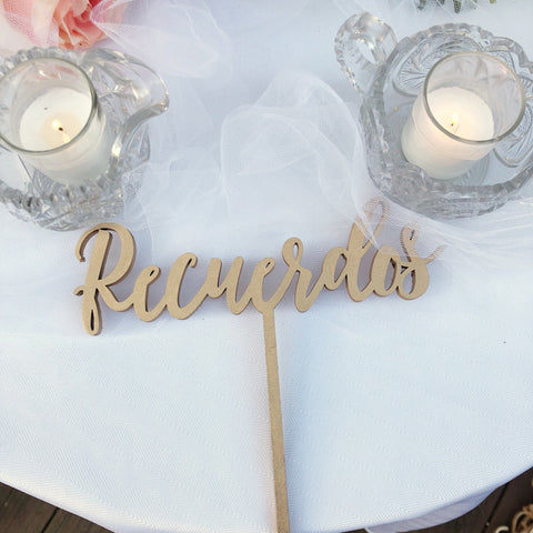 Rotulo para Recuerdos de Fiesta, Favors Sign, Wedding Favors Signage, Laser Cut Party Signs in Spanish, Rotulo para Boda - Spanish Line 1