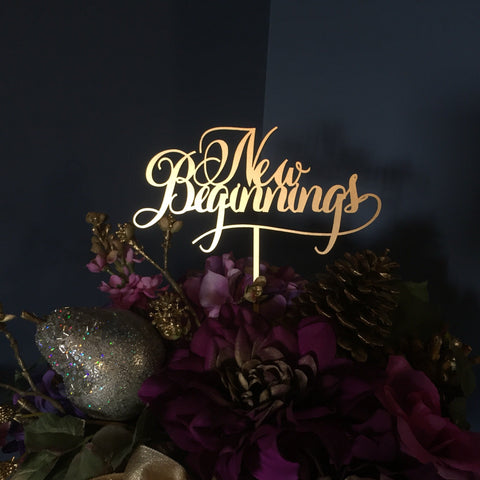 New Beginnings Sign - New Year Decor - Gold or Silver- Elegance Line