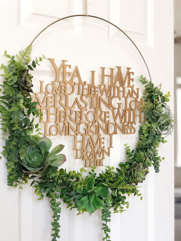 "19"" Succulent Wreath, Modern Hoop Wreath With Faux Succulents , Modern Style Wreath With Bible Frase, Farmhouse Style Wreath"