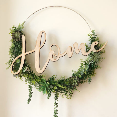 "19"" Succulent Wreath, Modern Hoop Wreath With Faux Succulents , Modern Style Wreath, Farmhouse Style Wreath, Home Succulents Wreath"