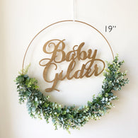 Nursery Hoop Wreath With Name, Greenery Baby Shower Wreath, Baby Shower Wreath with Name, Modern Style Wreath, Farmhouse Nursery Decor