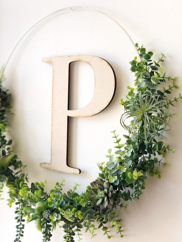 "19"" Succulent Wreath With Initial, Modern Hoop Wreath With Faux Succulents , Modern Style Wreath, Farmhouse Style Wreath, Succulents Wreath"