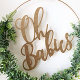 "19"" Oh Babies, Greenery Backdrop Wreath for Baby Shower, Greenery Hoop Wreath for Nursery, Baby Shower Wreath - Faux Eucalyptus Wreath, Twin"
