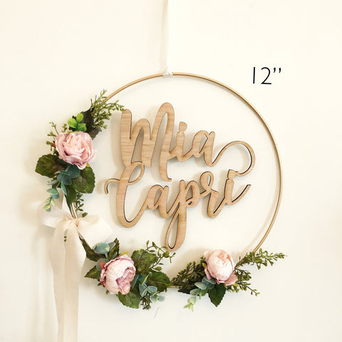 "12"" Floral Wreath With Name - Nursery Hoop Wreath - Blush Baby Shower Wreath - Baby Shower Wreath with Name - Girl Nursery wreath with Name"