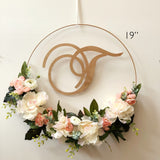 "19"" Hoop Wreath - Modern Floral Hoop Wreath - Artificial Flowers Wreath - Modern Wreath with Initial - Peacheas and Cream Floral Wreath"