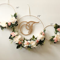 "SET OF THREE - Modern Floral Hoop Wreaths set of three 19"", 14"", 10""- Modern Wreath with Initial - Peacheas and Cream"