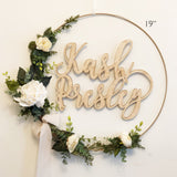 "14"" Nursery Hoop Wreath - Floral Wreath With Name - Blush Baby Shower Wreath - Baby Shower Wreath with Name - Farmhouse Style - Girl Nursery"