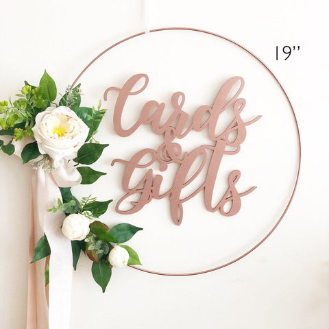 "19"" Floral Wreath with Cards and Gifts Sign - Cards and Gifts Sign Wreath - Blush Roses Wreath - Floral Hoop Wreath - Venice Line"