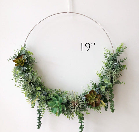 "19"" Succulent Wreath, Modern Hoop Wreath With Faux Succulents , Hoop Wreath, Minimalist Wreath, Modern Style Wreath, Farmhouse Fall Wreath"