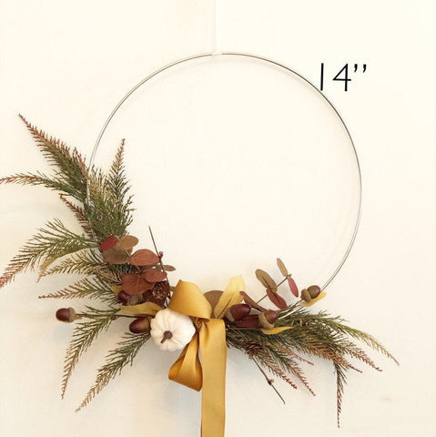 "14"" Fall Hoop Wreath, Modern Autumn Wreath, Holiday Wreath, Fall Farmhouse Wreath, Modern Wreath, Farmhouse Style Wreath"