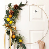 "19"" Fall Modern Hoop Wreath - Large Hoop Wreath With Faux Citrus  - Hoop Wreath, Faux Eucalyptus Wreath, Modern Style Wreath With Lemons"